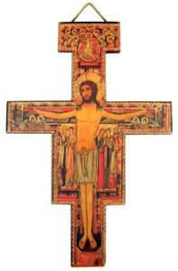 Religious Catholic Gift Saint St Francis of Assisi Tau Cross San Damiano Hanging Decoration Wall Crucifix