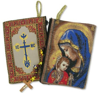 Religious Gift Mothers Embrace Madonna & Child Icon Cloth Tapestry Rosary Zipper Close Pouch Keepsake Holder
