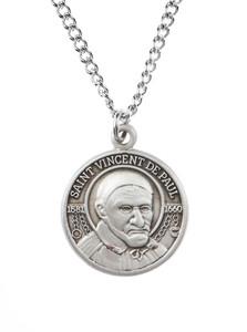Pewter Saint St Vincent De Paul Dime Size Medal Pendant, 3/4 Inch