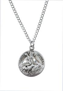 Pewter Saint St William Dime Size Medal Pendant, 3/4 Inch