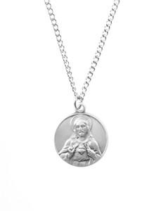 Pewter Scapular Dime Size Medal Pendant, 3/4 Inch