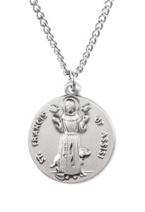 Pewter Saint St Francis Assisi Dime Size Medal Pendant, 3/4 Inch