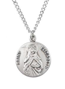 Pewter Saint St Elizabeth Dime Size Medal Pendant, 3/4 Inch