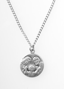 Pewter Holy Family Dime Size Medal Pendant, 3/4 Inch