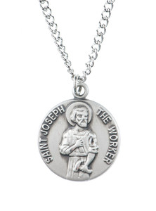 Pewter Saint St Joseph the Worker Dime Size Medal Pendant, 3/4 Inch