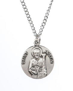 Pewter Saint St Justin Dime Size Medal Pendant, 3/4 Inch