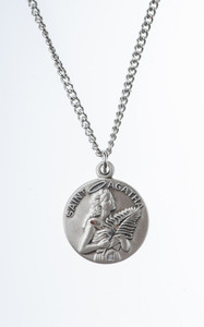 Pewter Saint St Agatha Dime Size Medal Pendant, 3/4 Inch