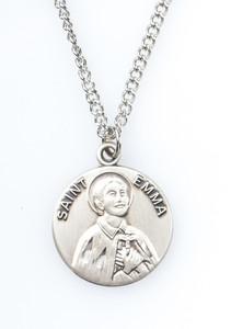 Pewter Saint St Emma Dime Size Medal Pendant, 3/4 Inch
