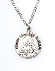 Pewter Saint St Francis Cabrini Dime Size Medal Pendant, 3/4 Inch
