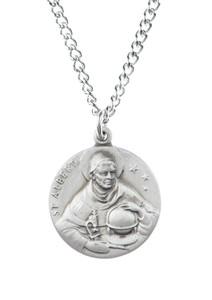 Pewter Saint St Albert Dime Size Medal Pendant, 3/4 Inch