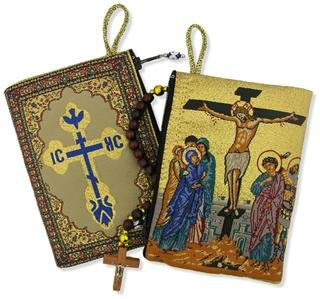 Religious Gift the Crucifixion of Jesus Christ Icon Cloth Tapestry Rosary Zipper Close Pouch Keepsake Holder 2 Sided