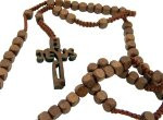 "Wood 8mm Square Prayer Bead 18 1/2"" Cord Rosary with 2"" Jesus Cross"