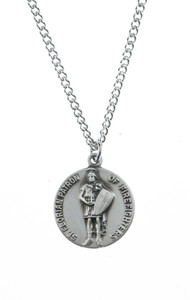 Pewter Saint St Florian Patron of Firefighters Dime Size Medal Pendant, 3/4 Inch