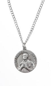 Pewter Saint St Francis Xavier Dime Size Medal Pendant, 3/4 Inch