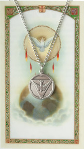 Pewter Holy Spirit Medal with Laminated Holy Card, 3/4 Inch