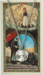 Pewter Saint St Joan of Arc Medal with Laminated Holy Card, 3/4 Inch