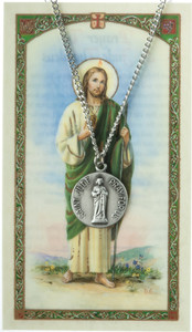 Pewter Saint St Jude Thaddeus Medal with Laminated Holy Card, 3/4 Inch