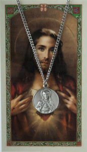Pewter Sacred Heart Scapular Medal with Laminated Holy Card, 3/4 Inch