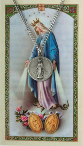 Pewter Our Lady of Grace Miraculous Medal with Laminated Holy Card, 3/4 Inch