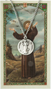 Pewter Saint St Francis of Assisi Medal with Laminated Holy Card, 3/4 Inch