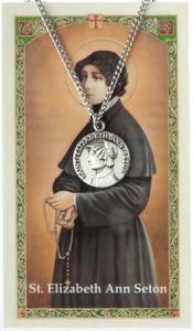 Pewter Saint St Elizabeth Ann Seton Medal with Laminated Holy Card, 3/4 Inch