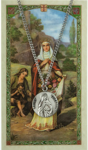 Pewter Saint St Elizabeth Hungary Medal with Laminated Holy Card, 3/4 Inch
