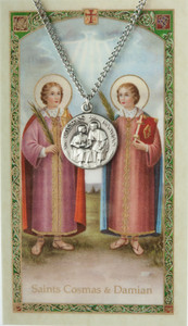 Pewter Saint Cosmas and St Damian Medal with Laminated Holy Card, 3/4 Inch