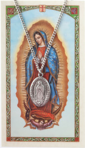 Pewter Our Lady Guadalupe Medal with Laminated Holy Card, 1 Inch