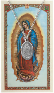 Pewter Our Lady Guadalupe Spanish Medal with Laminated Holy Card, 1 Inch