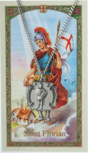 Pewter Saint St Florian Patron of Firefighters Medal with Laminated Holy Card, 7/8 Inch