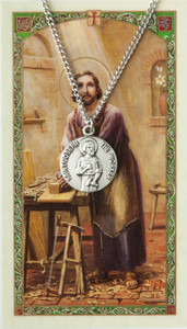 Pewter Saint Joseph the Worker Medal with Laminated Holy Card, 3/4 Inch