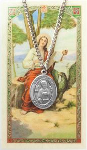 Pewter Saint St John Evangelist Medal with Laminated Holy Card, 1 1/16 Inch