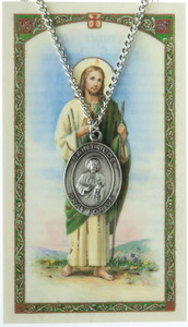 Pewter Saint St Jude Thaddeus Medal with Laminated Holy Card, 1 1/16 Inch