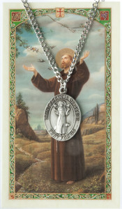 Pewter Saint St Francis of Assisi Medal with Laminated Holy Card, 1 1/16 Inch