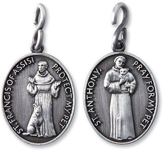 "Saint Anthony St Francis 1 1/4"" Pewter Catholic Christian Pet Collar Medal Pendant"