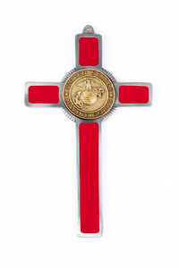 Pewter and Red Enamel US Marine Corps Military Wall Cross, 8 Inch