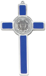 Pewter and Blue Enamel US Coast Guard Military Wall Cross, 8 Inch