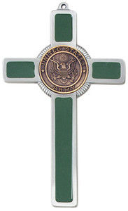 Pewter and Green Enamel US Army Military Wall Cross, 8 Inch