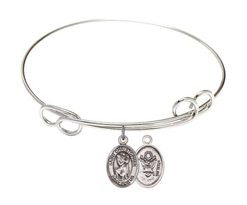 Rhodium Plate Bangle Bracelet with Saint Christopher Army Charm, 7 1/2 Inch