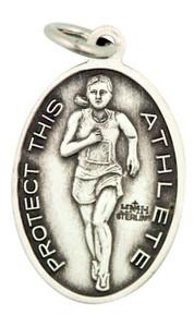 Saint St Christopher 7/8 Inch Sterling Silver Medal for Girl Track Athlete