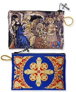 Nativity of Jesus Christ with 3 Kings Tapestry Keepsake Rosary Case Pouch