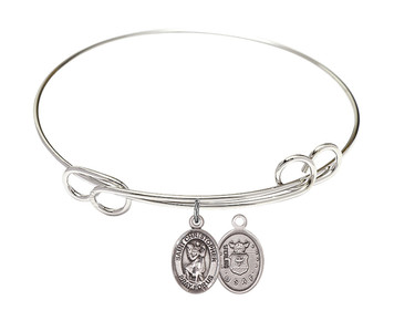 Rhodium Plate Bangle Bracelet with Saint Christopher Air Force Charm, 8 Inch