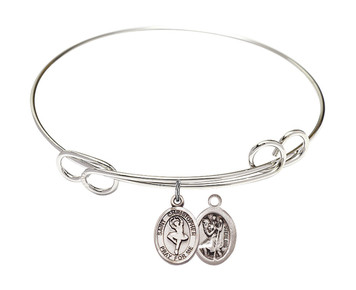 Rhodium Plate Bangle Bracelet with Saint Christopher Ballet Dancer Charm, 8 Inch