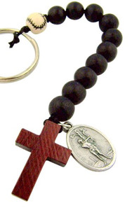 One Decade Wood Rosary with Saint Sebastian Medal Key Chain for Baseball Athlete