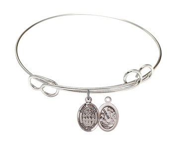 Rhodium Plate Bangle Bracelet with Saint Cecilia Music Choir Charm, 8 Inch