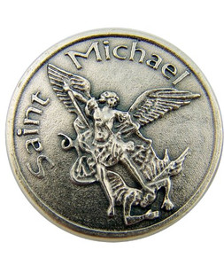 Saint St Michael Slaying Dragon Patron of Police Military Devotional Prayer Coin Pocket Token Medal