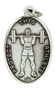 "Saint Christopher Protect This Athlete 1"" Sterling Silver Weight Lifting Medal"