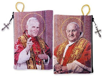 Religious Gift Catholic St John XXIII & St John Paul II Icon Cloth Tapestry Rosary Zipper Close Pouch Keepsake Holder
