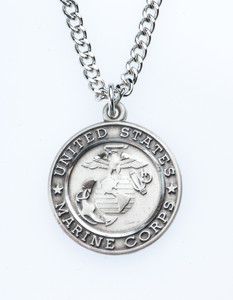 Sterling Silver Saint Michael Protect Me Military Medal, 3/4 Inch (US Marine Corps)