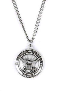 Sterling Silver Saint Christopher Protect Me Military Medal, 3/4 Inch (US Navy)
